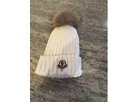 Moncler cream hat with fur pom Pom