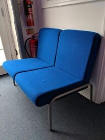 2x Two Seater Office Chairs w/ Table