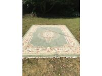 Beautiful Large hand made wool Chinese rug with fringe Green and Creams 12' x 9'