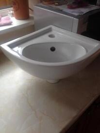 RAK ceramics corner sink with wall fittings etc
