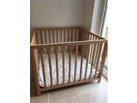 BabyDan Baby Playpen (beech colour) with padded cushion