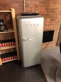 Tall Vintage Style Silver SMEG Refrigerator Fridge Freezer, RRP £1000, Great Condition
