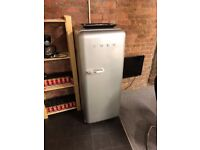 Tall Vintage Style Silver SMEG Refrigerator Fridge Freezer, RRP £1000, Great Condition