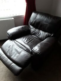 Brown leather 3seater and chair fully electric recliners