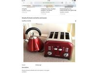 Morphy Richards red kettle and 4 slice toaster
