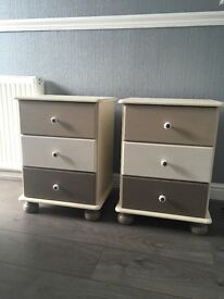 Pair of Hand Painted bedside drawers