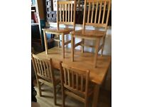 4 seater light pine dining table