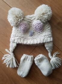 NEXT baby girl hat & mittens Lovely
