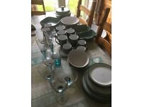 Regency Green Denby Tableware and Glasses