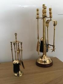 Antique / vintage 2 Brass fire sets