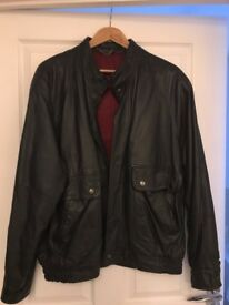 Mens XL M&S black leather bomber jacket
