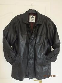 """Black Real Leather coat size M 40""""length 33""""Good clean condition, Button or Zip fastening, £30"""