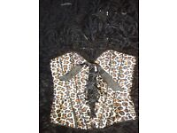 Medium basque leopard print with cat ears and mask