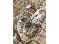 9 shabby chic/vintage large white wicker hearts with ivory ribbon