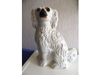 Staffordshire dog fireside ornament. Vintage china. Antique. Collectibles.
