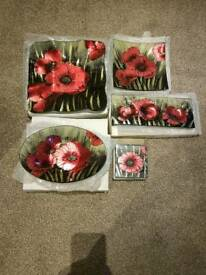 BNIB Red black poppy design glass coasters, tealight holder, plate & bowl