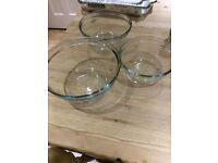 Anchor Glass mixing bowls set of 3, 2 sets avaliable.