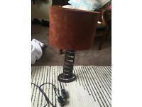 Brown Suede and Dark Wood Table Lamp