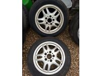 """E36/Z3 16"""" Twinspoke and Y Spoke Alloys, all with (just) legal tyres - drift/skid? £10 ea"""