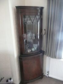 Mahogany corner display cabinet, reproduction antique from 1970's