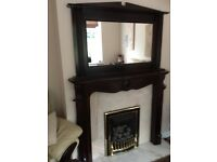 Genuine Louis Fire Surround and Over Mantle Mirror
