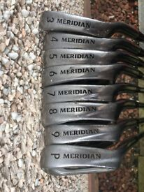 Set of Meridian golf clubs - 3 to 9 irons plus wedge