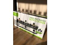 Tru 3 Pot Slow Cooker / Food Warmer - BRAND NEW