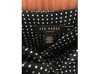 Gorgeous Ted Baker, silk, size 3 (uk 12) dark navy, polka dot dress
