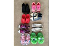 Bundle of shoes, trainers, stompeez slippers, plimsolls, child sizes 10/11/12