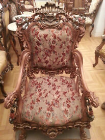 DELUXE ITALIAN RED FLOWER PATTERN LOUIS XV STYLE ANTIQUE SOFA SETTEE SALON CHAIR ONLY £300