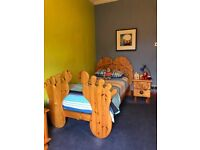 Kids bedroom set £1200 new,we need £250,single bed,wardrobe,chest of drawers,locker,blanket box