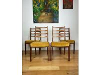 Mid Century Modern Teak Ladder Back Dining Chairs Set of Four FREE LOCAL DELIVERY