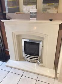 Marble fireplace with lights
