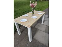 Modern rustic white dining table. Shabby chic. LOCAL DELIVERY.