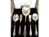 Vintage Fruit spoons & forks with large serving spoon. Silver plated in original box.