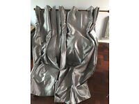 """Faux silk eyelet curtains in silver 90"""" X 90"""""""