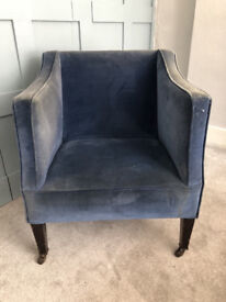 Armchair, occasional Edwardian, brass castors, ideal for re-upholster