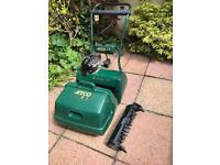 Atco Balmoral 17 inch lawnmower with additional scarifier cassette.