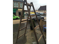 Heavy Solid Tall Vintage Wooden Double Side Step Ladder – Storage Prop Display