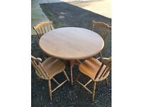 Lovely Solid Chunky Round Farmhouse Dining Table And 4 Chair. Excellent Condition. Can Deliver.