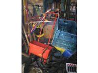 Various gardening tools incinerator, sprayer, speader