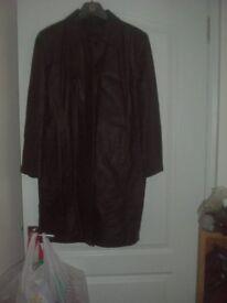LADIES BLACK LEATHER COAT Size 16