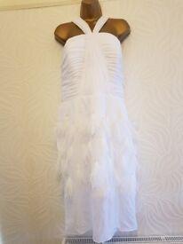 White feathered dress size 12/14