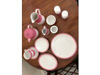 15 piece matching Dudson brothers pink and white crockery