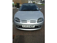MGFT soft top convertable sports car, silver. 12 months MOT good runner. Leather seats and CD player