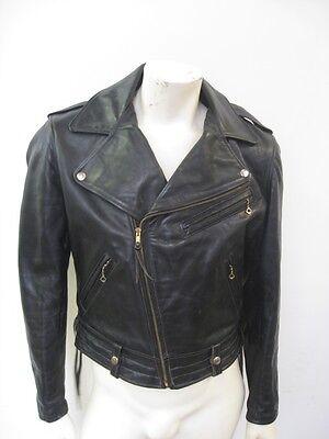 Vintage 1950s HORSEHIDE Black Leather Motorcycle Jacket Size 42