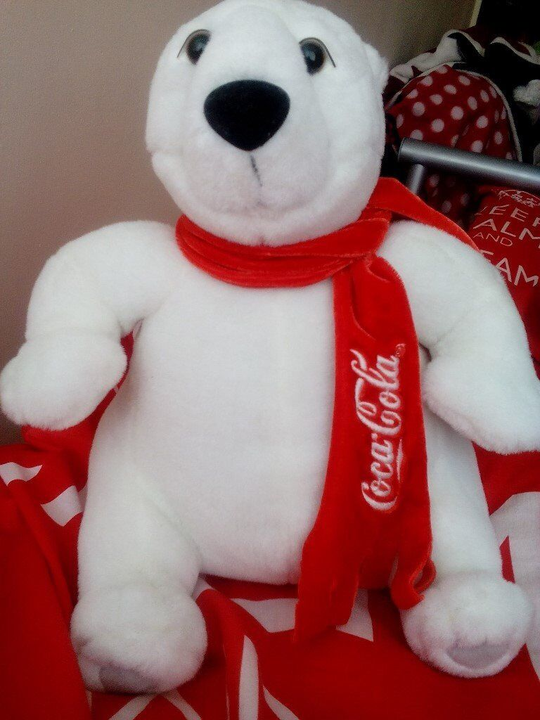 COCA COLA POLAR BEARin Newcastle, Tyne and WearGumtree - Coca Cola branded polar bear soft toy. Wearing a red Coca Cola scarf. in great condition with red Coca Cola label still on. very Collectable look at my other ads, I also have a coca cola gorilla for sale £15