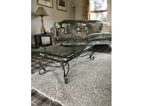 Beautiful coffee table - cast iron frame and glass top