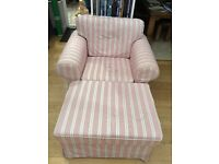 Armchair Ektorp IKEA, red/white/grey stripe + footstool, new cost £305 Condition as new, price £75