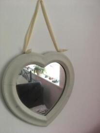 Heart shaped mirror white wooden frame
